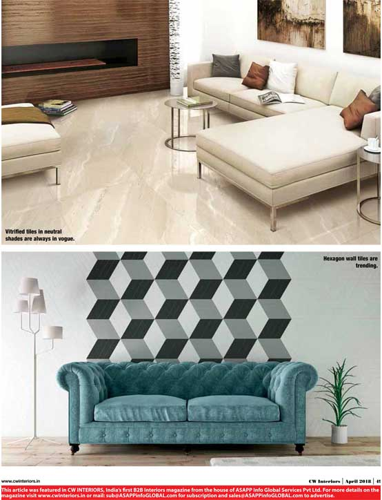 Spotlight Trends CW Interiors featured BFT's Geometric pattern tile in their April 2018 issue.