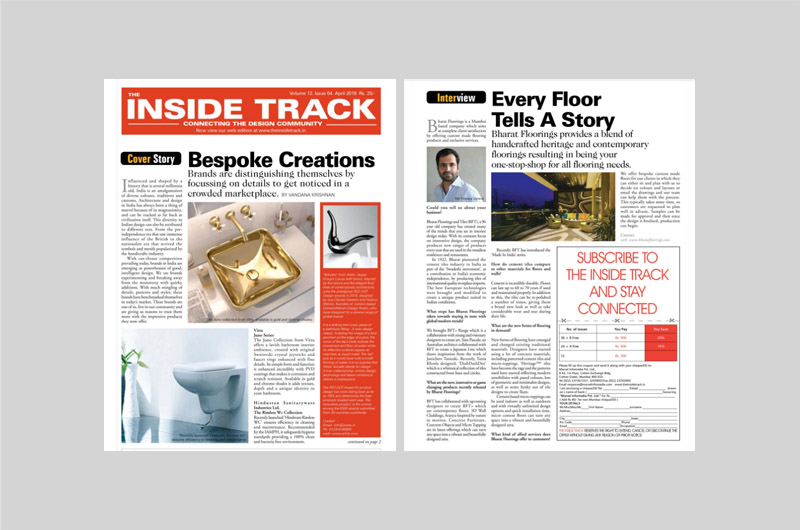 The Inside Track featured BFT's Every Floor Tells A Story in their April 2018 issue.